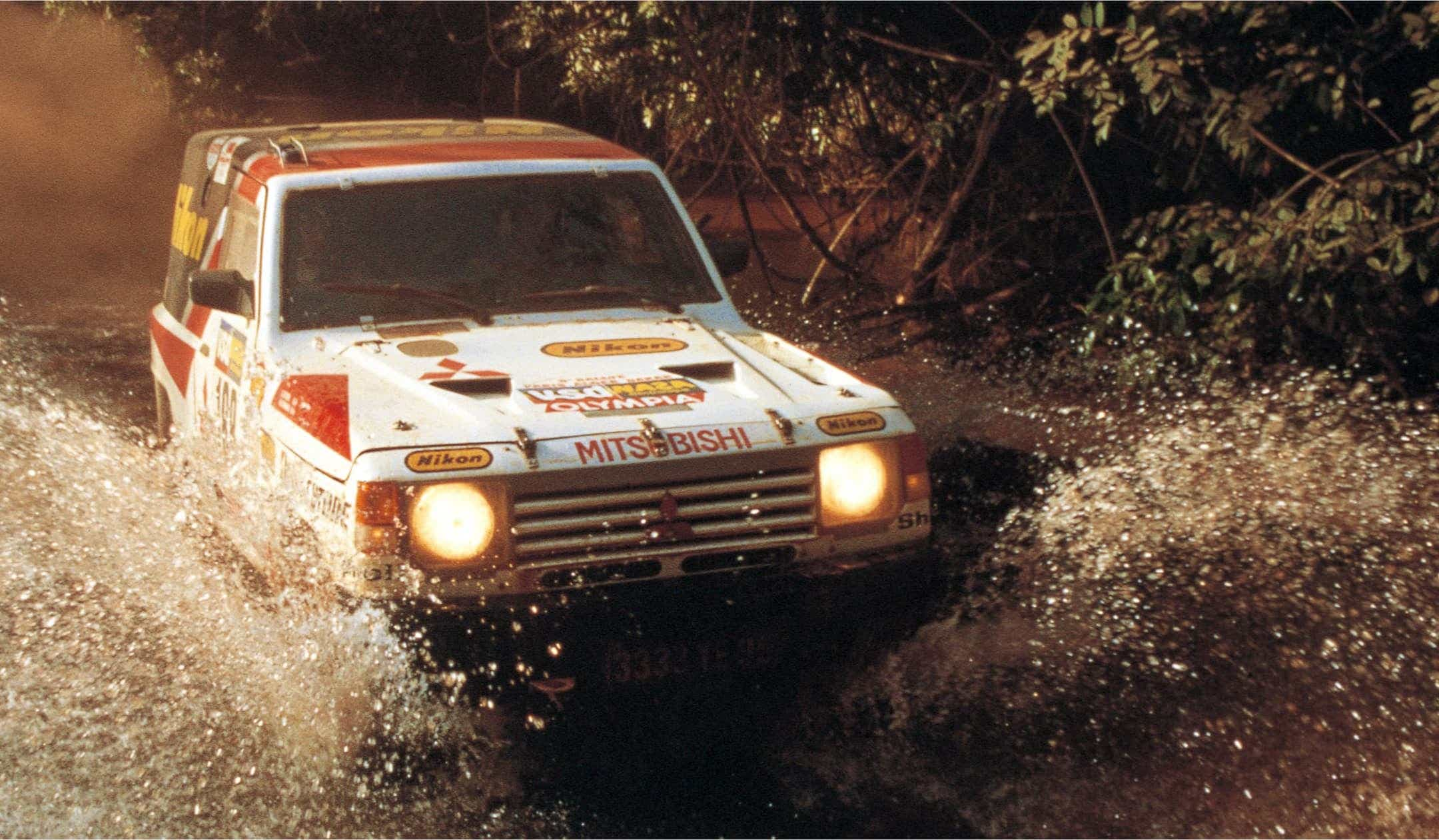 Pajero driving through water